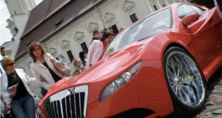 Mercedes CLK-Class transformed into foam Bugatti