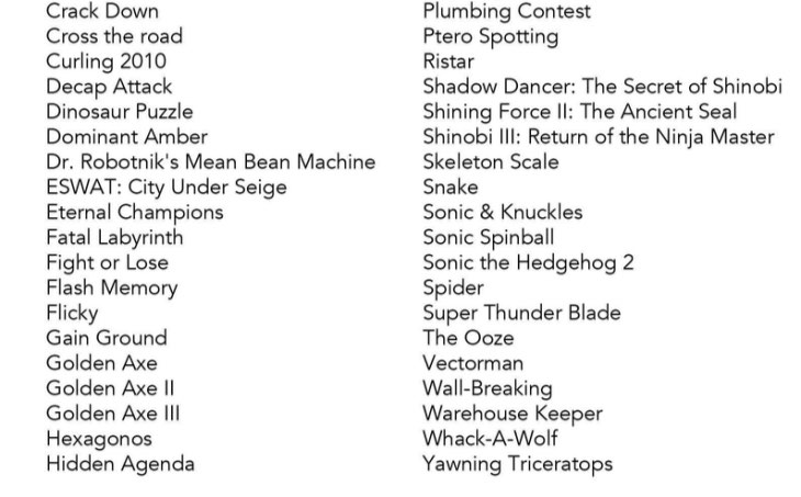Games List - Sega Genesis Flashback Wiki Guide - IGN