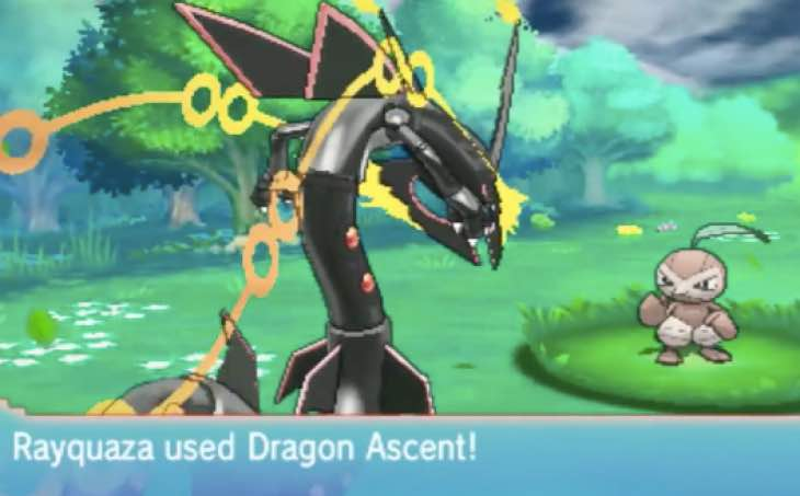 pokemon oras shiny mega rayquaza with dragon ascent