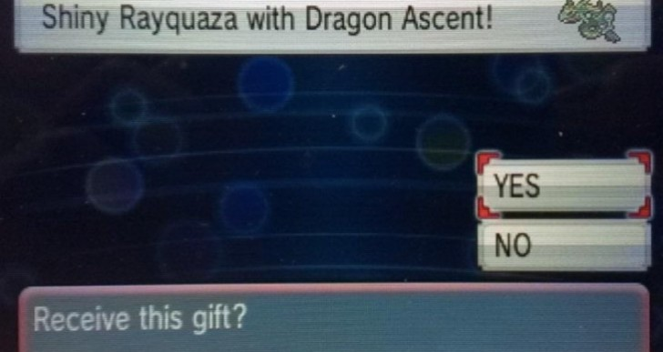 New Pokemon ORAS Shiny Rayquaza code for US