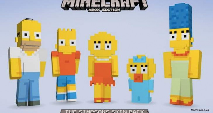 Minecraft Simpsons Skins release date jealousy for PS4, PS3
