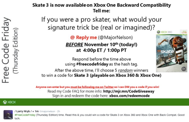 Skate 3 Xbox One update with free download code – Product Reviews Net