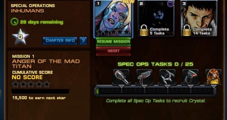Avengers Alliance Spec Ops 23 Inhumans task list