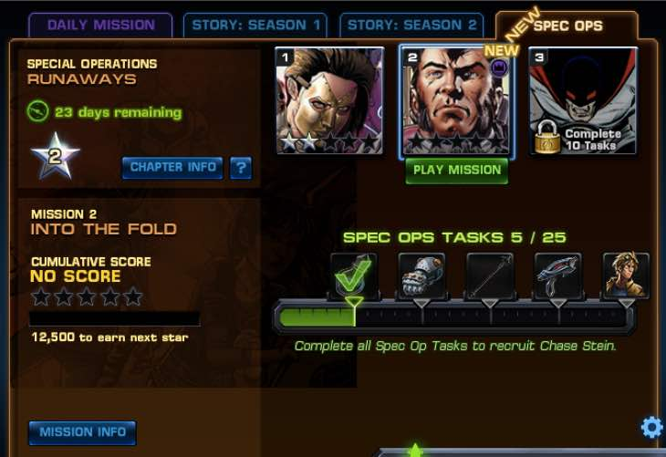 Avengers Alliance Spec Ops 25 Task List for Runaways