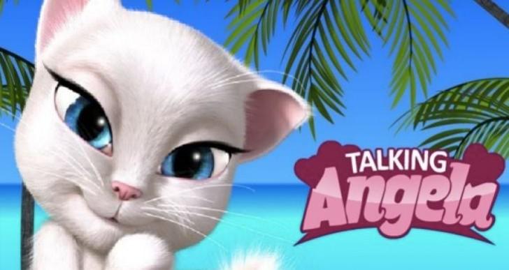 Talking Angela cat app stroking in Child Mode