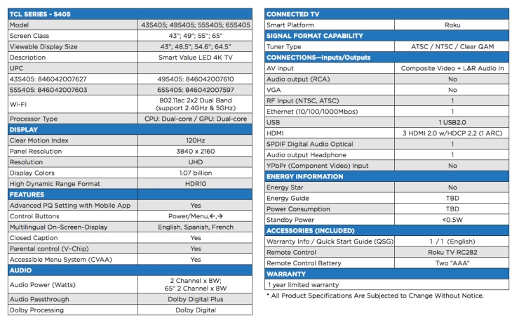 tcl-s405-specs-list
