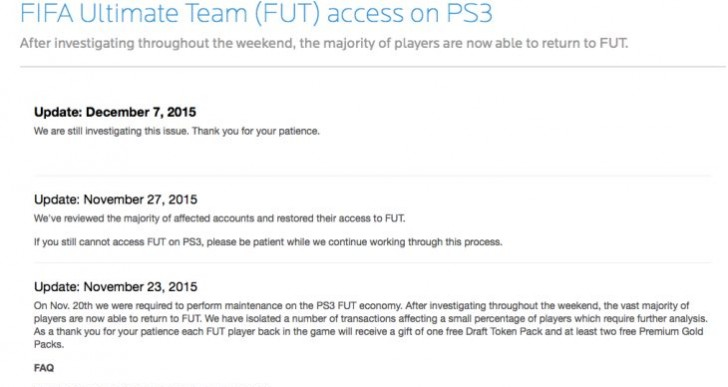 EA silent on blocking FIFA 16 PS3 FUT for three weeks