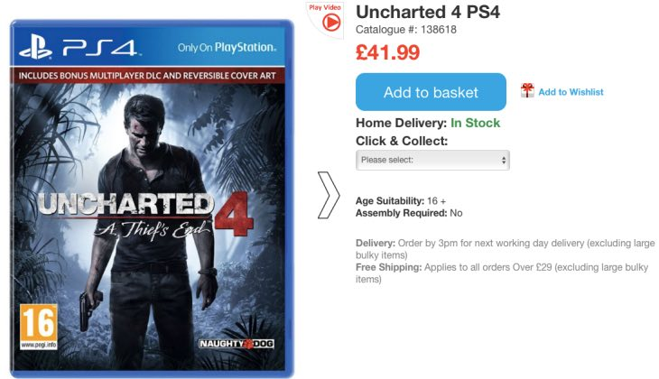 uncharted-4-price-uk-smyths