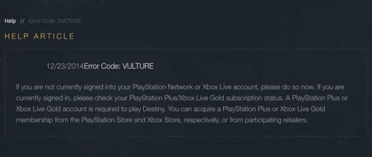Vulture Error Code Fix After Destiny Servers Down Product Reviews Net