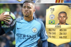 Gabriel Jesus Man City FIFA 17 card rating with upgrade