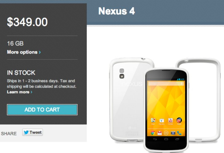 White Nexus 4 healthy shipping with free bumper case