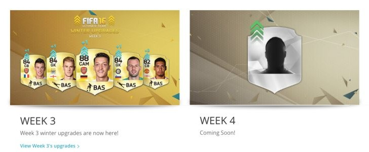 FIFA 16 Winter Upgrades Week 4 list release time