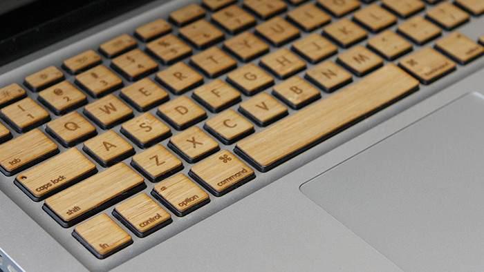 wooden mac keyboard