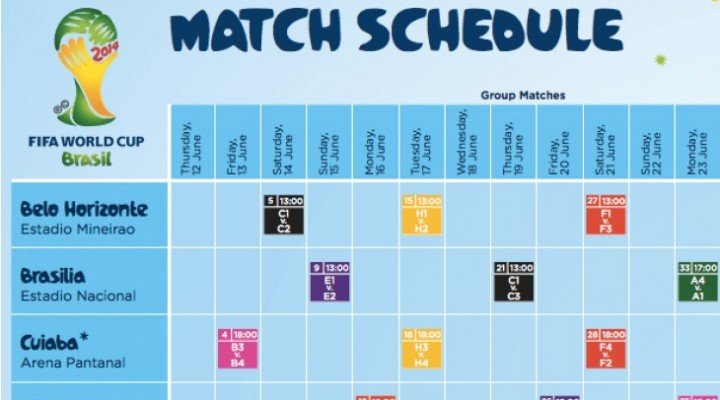 World Cup 2014 schedule PDF live for UK, US times