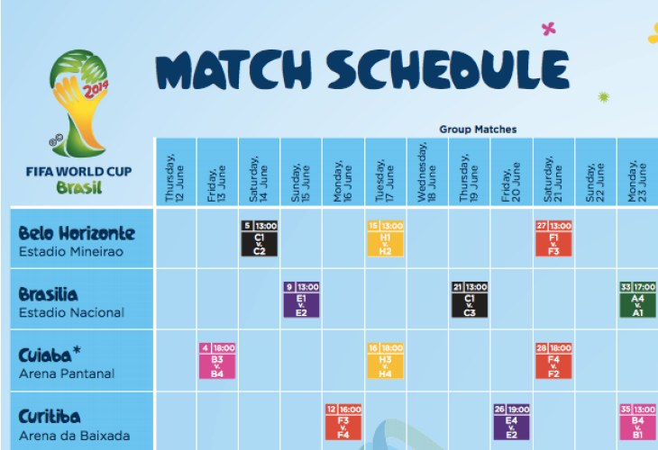 World Cup 2014 schedule PDF live for UK, US times ...