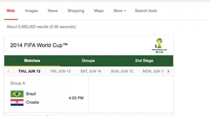 World Cup 2014 timetable in Eastern Time, BST