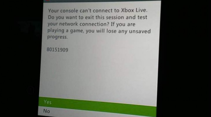 Xbox Live down on December 1 with 80151909 error