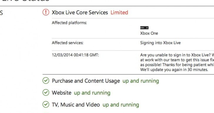 Xbox One login problems with Xbox Live down