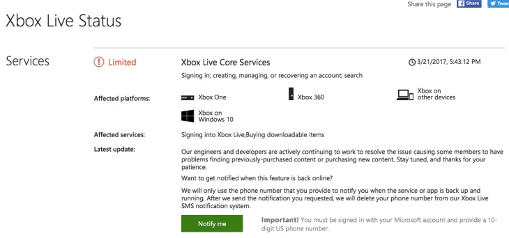 Xbox live status matchmaking service alert