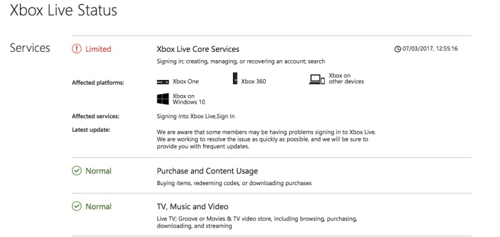Xbox Live core services down for Xbox One on March 7