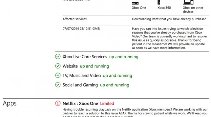 Xbox Live Status, issues with Netflix, Twitch, and Store