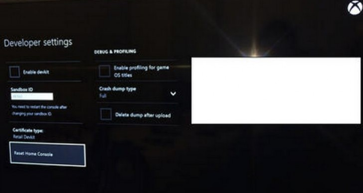 Xbox One developer menu settings code